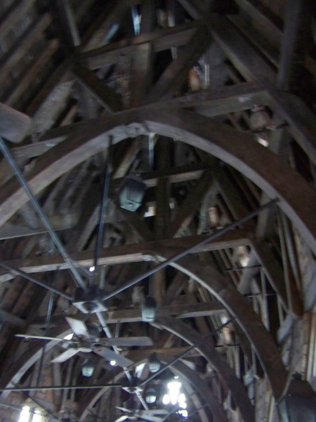 The rafters of the Owl Post building are filled with roosting owls waiting to deliver your letter.  The animatronic owls up there occasionally move and hoot.  (Sorry for the blurry shot!)<br /> [Universal Islands of Adventure - Wizarding World of Harry Potter]