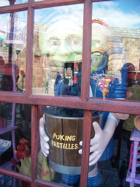 "Zonko's advertises the ""puking pastilles"" that were created by the Weasley twins.  It's hard to see because of the reflection, but the shop's exterior window featured this green-tinged animated figure demonstrating what happens when you eat one (i.e. puking into a bucket).  Just the thing to help you avoid that wizarding exam you're not quite ready for!  The pastilles must've been backordered, as I didn't see any real ones for sale inside the shop.  :-)<br /> [Universal Islands of Adventure - Wizarding World of Harry Potter]"