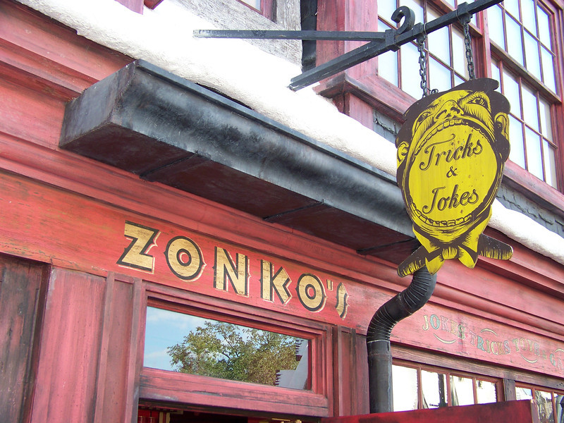 One of the shops in Hogsmeade is Zonko's Joke Shop.<br /> [Universal Islands of Adventure - Wizarding World of Harry Potter]