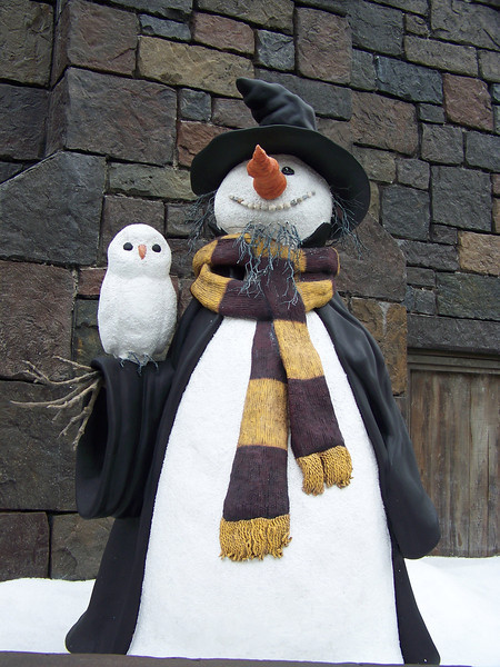 On the way to Hogwarts, we passed this cute snow wizard and his snowy owl.<br /> [Universal Islands of Adventure - Wizarding World of Harry Potter]