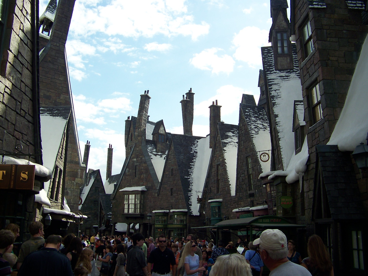 However, Hogsmeade is also incredibly cramped, as you can see by the people crowding the street.  All the shops were designed for much lighter crowds than we experienced, and this was nowhere near Orlando's peak tourist season.  It must be a nightmare then!<br /> [Universal Islands of Adventure - Wizarding World of Harry Potter]