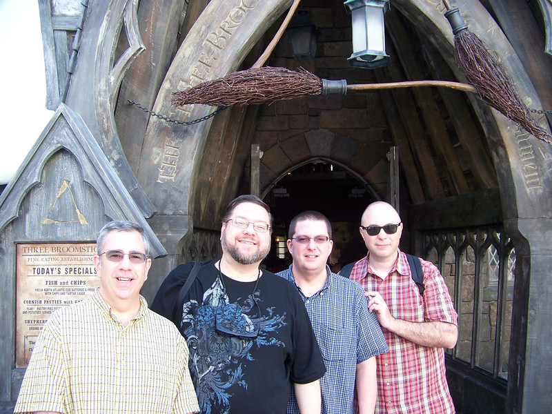 Dave, Jon, Jeff, and Pat at the entrance of the Three Broomsticks.<br /> [Universal Islands of Adventure - Wizarding World of Harry Potter]