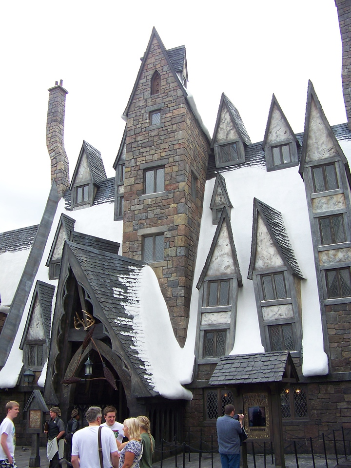 This is the exterior of the Three Broomsticks restaurant in Hogsmeade.<br /> [Universal Islands of Adventure - Wizarding World of Harry Potter]