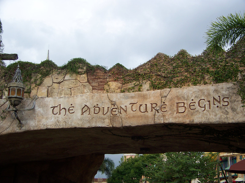 "The first part of the park (their Main Street, if you will) is called Port of Entry.  You walk under this bridge right after passing through the turnstiles, and ""The adventure begins!"".<br /> [Universal Islands of Adventure]"