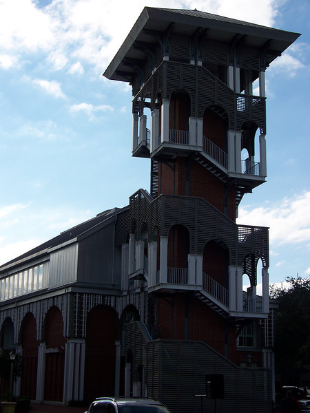 We never could figure out the purpose of this prominent tower that was attached to a bank building in the town center.<br /> [Celebration, Florida]