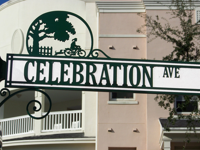 """A decorative street sign in Celebration, Florida's town center.  One of Disney's design goals here was to foster a friendly, small-town feeling among the residents.  From what I saw, I'd say they were successful! Now let's jump back onto Disney property for a look at where we stayed, the <b><a href=""""http://triesch.smugmug.com/WaltDisneyWorld/WDW-2011-in-9-parts/1-Arrival-and-Pop-Century/19983886_Bxj27r"""">Pop Century Resort.</a></b>"""