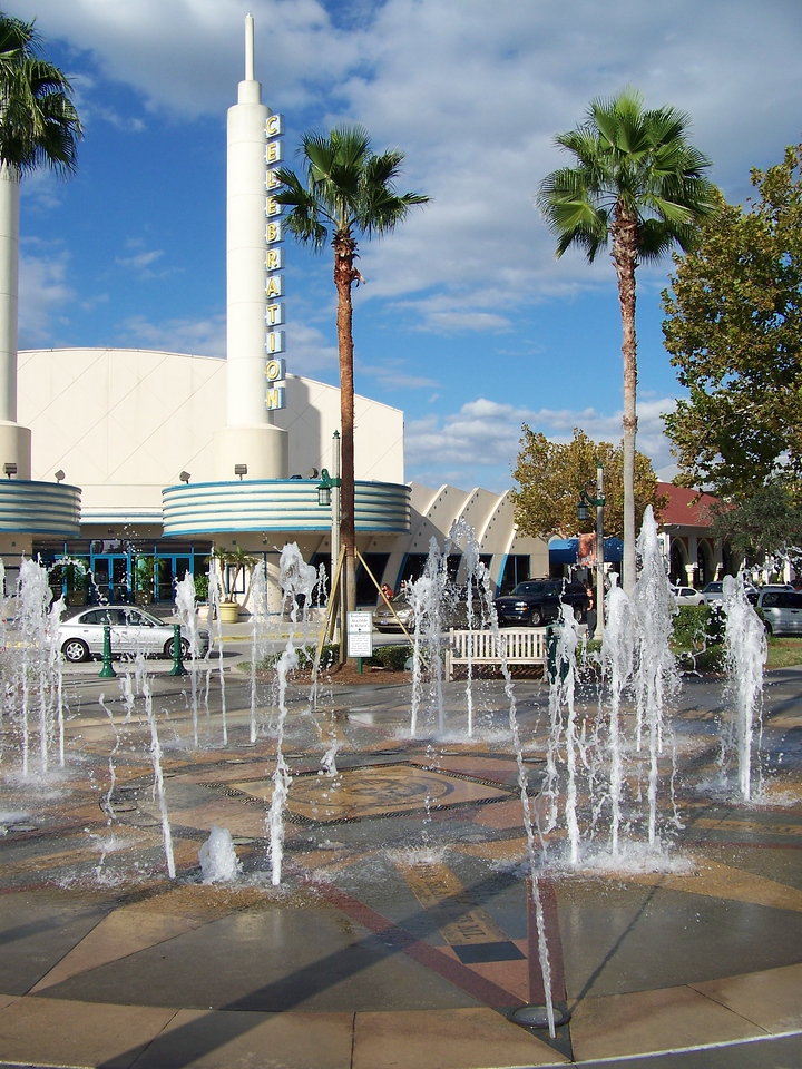 "Across the street from the theater was a ""dancing waters"" fountain.<br /> [Celebration, Florida]"