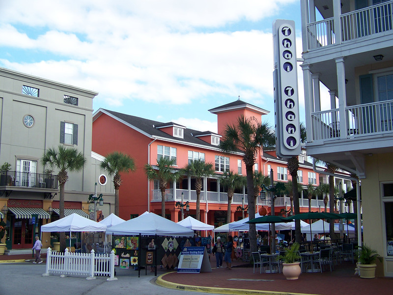 This is the town center.  This block of Water Street was closed to traffic for an arts and crafts fair.<br /> [Celebration, Florida]