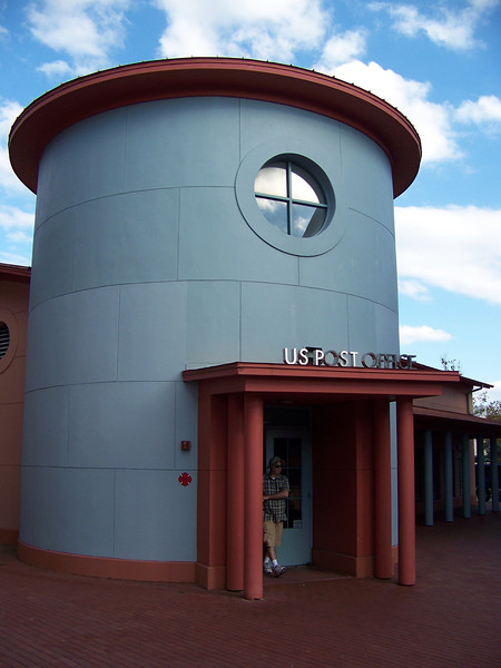 The post office was designed by famous architect Michael Graves, who also designed the Swan and Dolphin resorts in Walt Disney World.<br /> [Celebration, Florida]