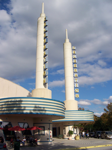 A little further around the lake shore, we found a movie theater (with a cool, retro marquee).  Sadly, it had gone out of business.<br /> [Celebration, Florida]