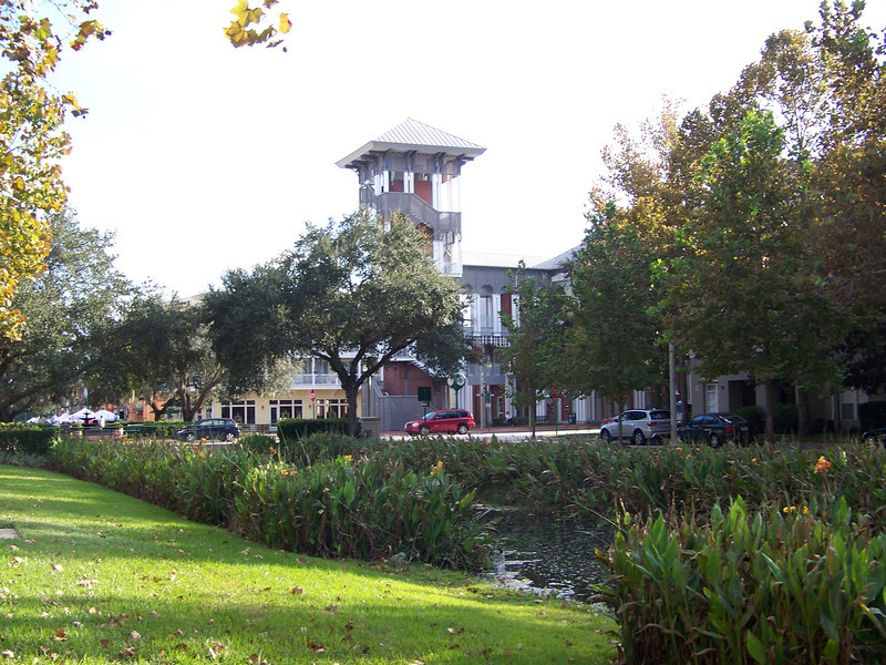 Water Street Park, looking toward the town center (where the creek disappears under the street).<br /> [Celebration, Florida]