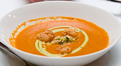 Seasonal Beefsteak Tomato soup with crispy shrimp