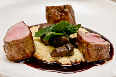 Grilled Pork Tenderloin with Goat Cheese Polenta, Roasted Mushrooms, Zinfandel Glaze, and Sage
