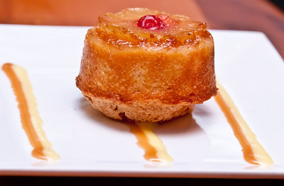 Pineapple Upside Down Cake with Lemongrass and Caramel Sauces