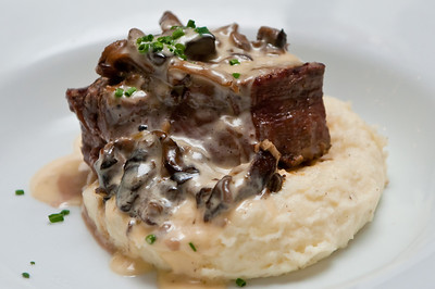 Mushroom Filet Mignon served with Cream Cheese Mashed Potatoes