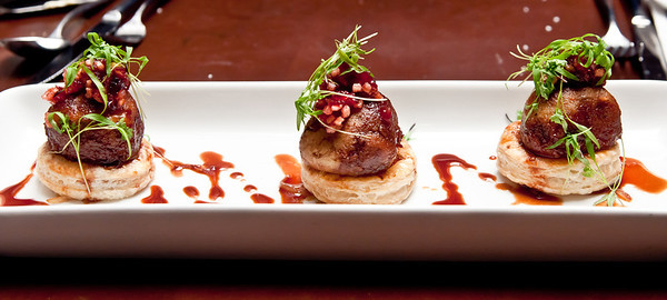 Roasted Duck Meatballs with a Caramelized Onion Tartlet and a Cherry Gastrique