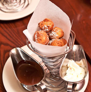 Zeppole di Ricotta - Ricotta cheese fritters, served with whipped cream and chocolate sauce