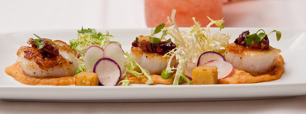 Pan Seared Diver Scallops Roasted Bell Pepper Hummus, Olive Chermoula, Panisse, and Summer Radish