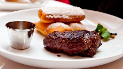 Filet Mignon 8-oz Filet, Sweet Potato Beignets, and Red Wine Sauce
