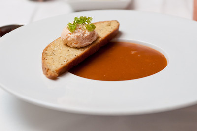Lobster Bisque Maine Lobster, Herbes de Provence Bescuit, and Roe Chantilly