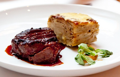 Filet Mignon 8-oz Filet, Carmody Potato Gratin, and Red Wine Sauce