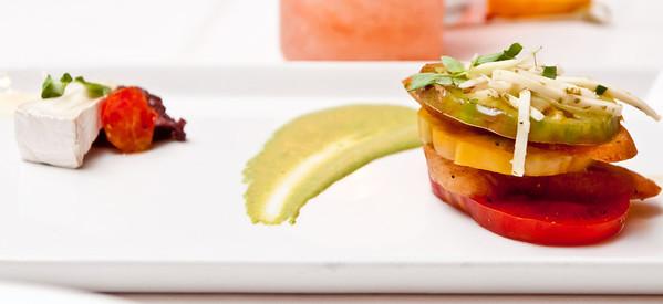 Tomato Salad Red Beefsteak Tomatoes, Lemon-Basil Emulsion, Nicoise Olive Tapenade, Goat Brie Cheese