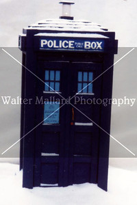 Diorama and Photo By Walter Mallard. TARDIS built by Brian Mallard in Shop Class at Harris Co. High School. Circa early 1990's. Dust specks may be evident.