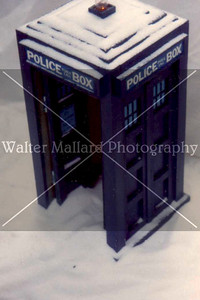 Diorama and Photo By Walter Mallard. TARDIS built by Brian Mallard in Shop Class at Harris Co. High School. Circa early. 1990's Dust specks may be evident.