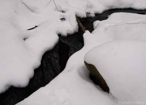 flowing water, snow