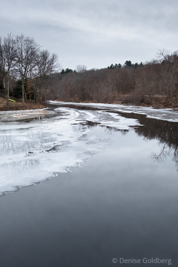 frozen and flowing water