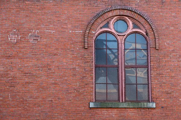 a window in Pemberton Mill, Lawrence, MA
