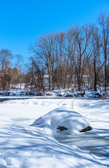 white snow, blue sky