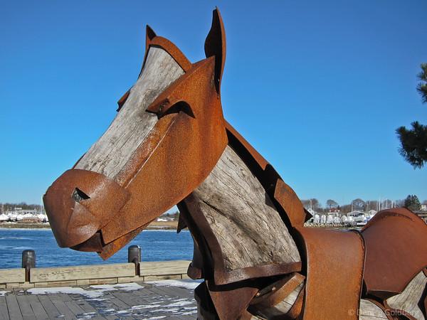 sculpture of a horse, Newburyport, MA