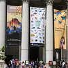 Museums all around with bright banners and lots of people