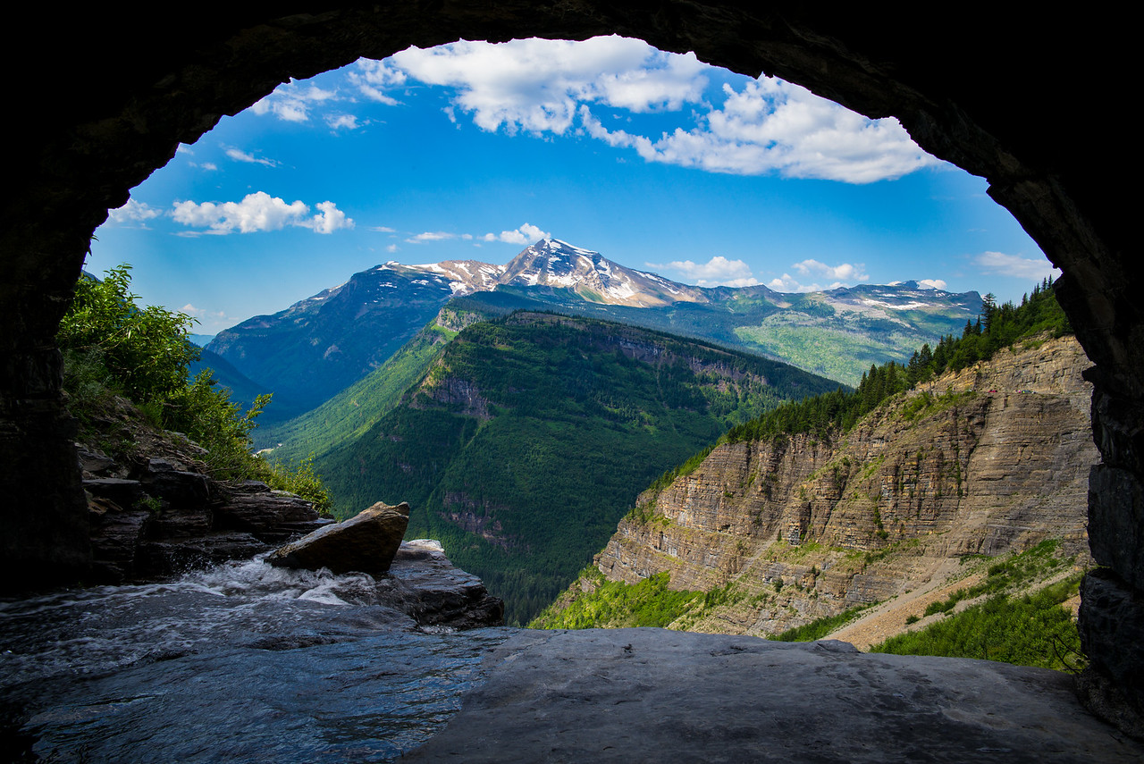 Tunnel View of Birdwoman Falls from Haystack Falls