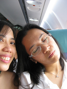 "As soon as we heard the captain saying, ""we are about to land..."", Joanne fell asleep. :p"