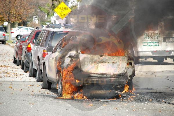 Wantagh F.D. Power Line down w/ Car Fire Merrick Rd. and Beech St. 12/4/07