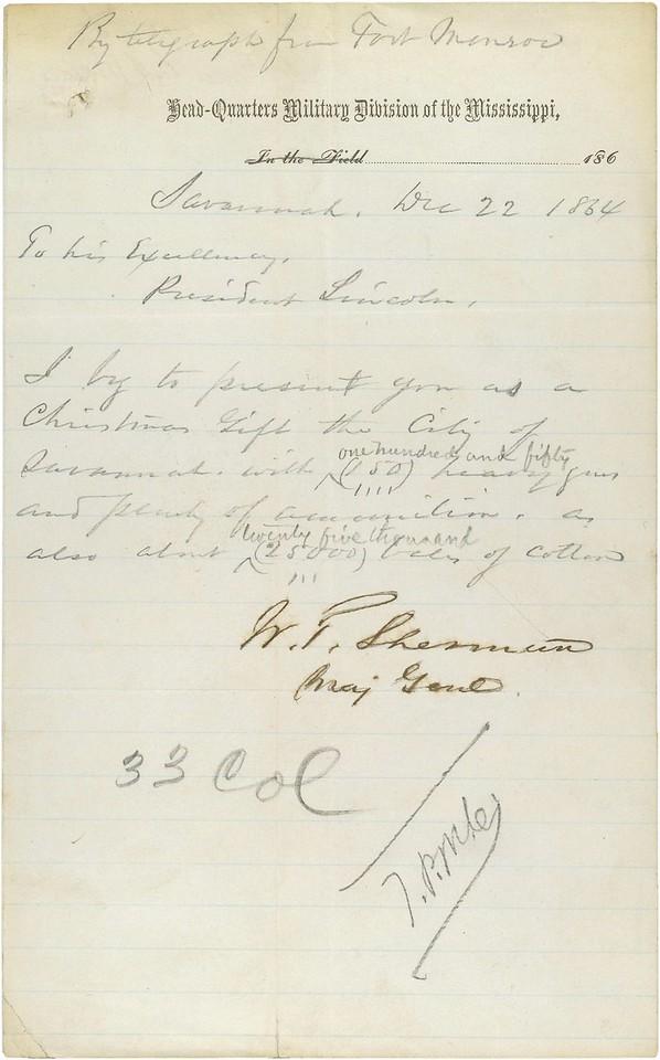Civil War - Sherman Telegram to Lincoln on capture of Savannah