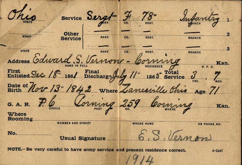 ES Vernon GAR Reunion Card (1914)