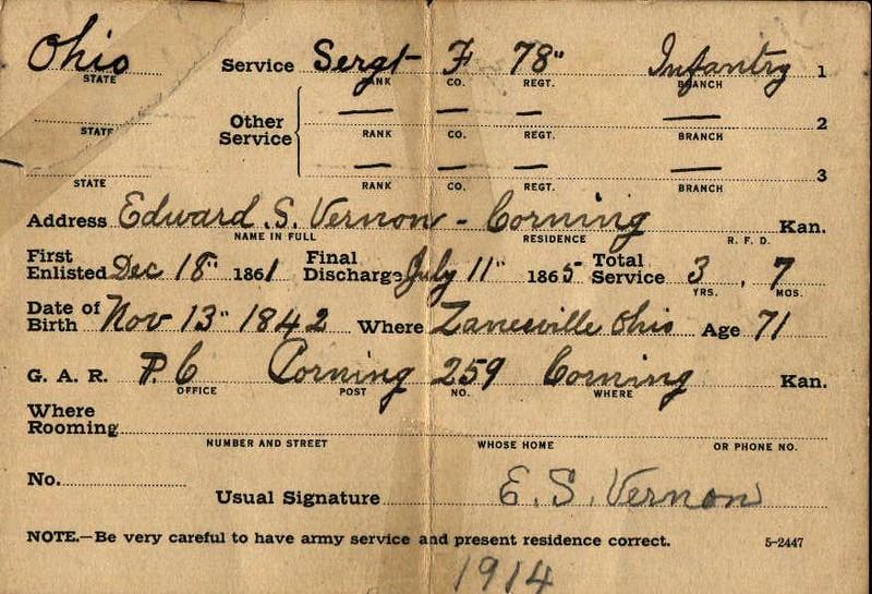 ES Vernon GAR Reunion Card (1914)-1