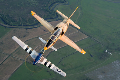 """Stallion 51's L-39 Albatross leads """"Crazy Horse"""", a TF-51 Mustang over the central Florida farmlands."""
