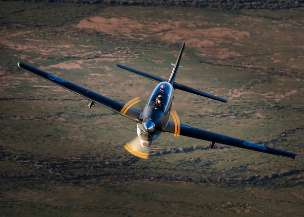 A27 Tucano of Valkyrie Aero over the Arizona desert during a photo mission with 3G Photography Workshops
