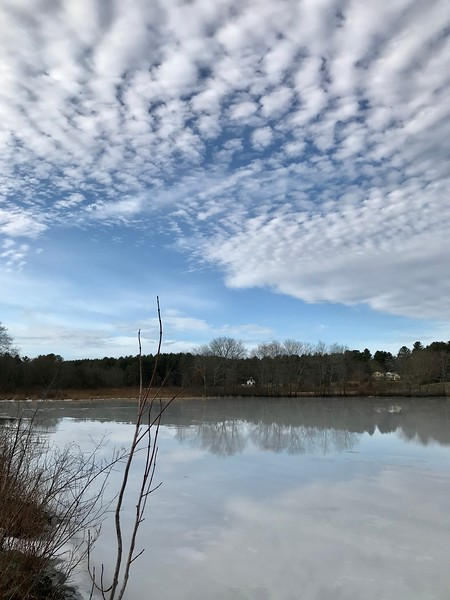 The ice on Greenough Pond was slowly melting on this unseasonably warm day. Photo by Mary Leach