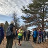 Marlies Henderson explained the plan for the Greenough Conservation Land to Foss Farm walk on Jan. 11. Photo by Mary Leach