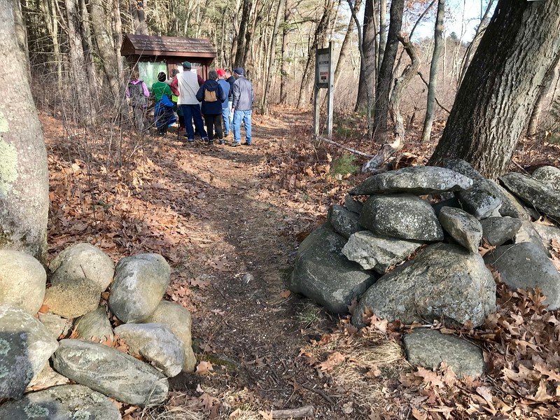 Hike Beautiful Billerica members checked out the trail map near the old Foss Farm in Carlisle. Photo by Mary Leach