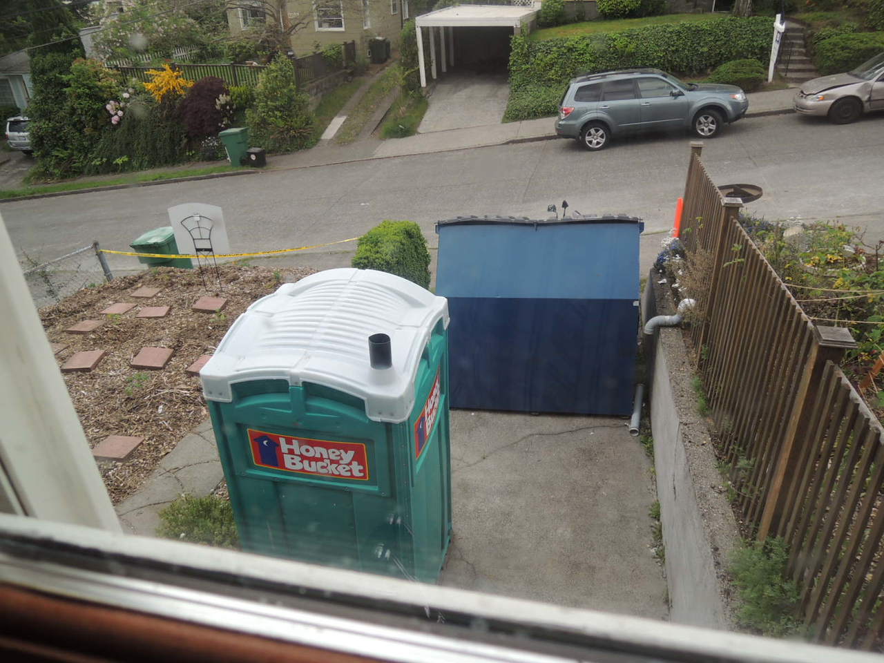 What we see from the kitchen window during the remodels.
