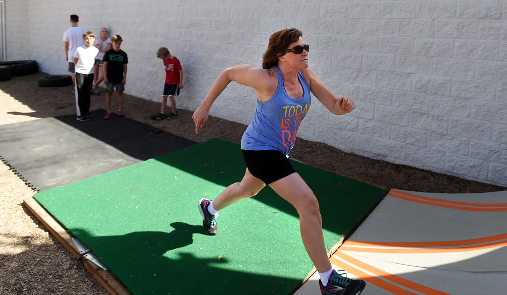 . Donna Campbell runs up the ramp. Warrior Playground is the Workout of the Week. For more photos, go to www.dailycamera.com. Cliff Grassmick / Staff Photographer/ April 8, 2017