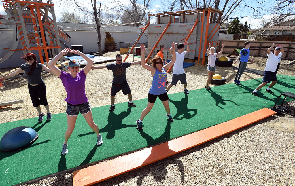 . The warriors warm up before taking on the course. Warrior Playground is the Workout of the Week. For more photos, go to www.dailycamera.com. Cliff Grassmick / Staff Photographer/ April 8, 2017