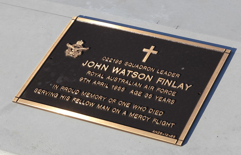 Head stone plaque for my father Sqn Ldr John (Jack) Finlay at Lutwych cemetery Brisbane. The military plaques have been refurbished, many with new brass plates and they are mounted in a concrete plinth.