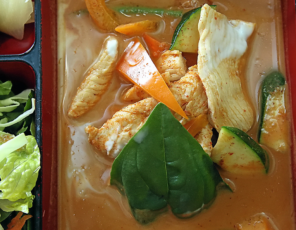 . Red curry with chicken is part of the Benten Box luch special at Wasabi Tapas in Capitola\'s Brown Ranch Marketplace. (Dan  Coyro -- Santa Cruz Sentinel)